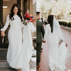 Cheap Mermaid Wedding Dresses Plus Size Jewel Neck Long Sleeves Bridal Gowns Beach Zipper Back Floor Length Wedding Dress