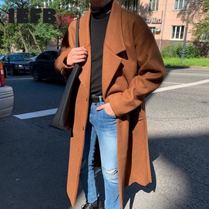 IEFB Winter thickened woolen coat men's medium length Korean fashionable handsome clothes with belt good quality coat new 9Y4792