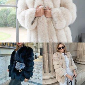 여성 자켓 겨울 코트 소녀 핑크 O 목 긴 소매 스트리트 스타일 M6YZ에 대한 Furclub 리얼 일러스트 Tatyana 자연 여우 모피