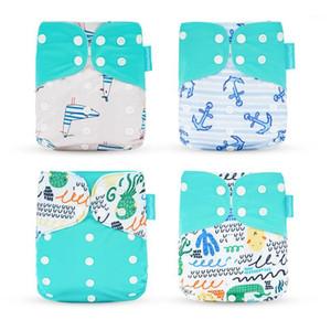 HappyFlute 4 teile / satz Baby Tuch Windel Taschenwindel Wasserdichte Abdeckungswindeln Wiederverwendbare Waschbare Einstellbare Tasche Mode Windeln1