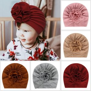 13 colors Cute Flower Baby Hat Soft Cotton Baby Girl Hat Turban Infant Toddlers Newborn Baby Cap Bonnet Headwraps Kids Beanie Headband
