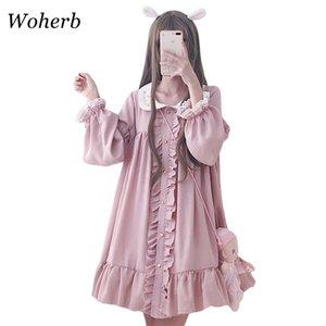 WOHERB 2020 Vestido de verano Mujer Harajuku Rosa Señoras volantes Cordillo Patch Kawaii Vestidos Lolita Cosplay Sweet Flow Vestidos 21092 x1224