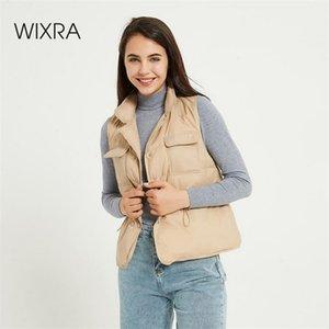 Wixra Womens Sleeveless Vest Winter Warm Down Cotton Lace-up Jacket Female Vests Mandarin Collar Sleeveless Waistcoat Autumn 201214