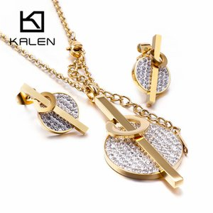 Kalen Acero Inoxidable Joyeria Mujer Zircon Earrings Necklace Sets For Women Stainless Steel Jewelry Sets Wedding Jewellery F1202