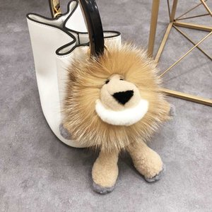 100% Real Fur Pendent Bagpack Hang Pendant Car KeyChain Charm Cute Toy Lion Pendant