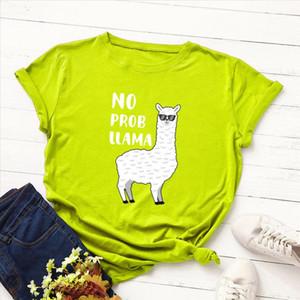 Women Funny Alpaca Print Tee Shirt Summer Streetwear Cute Cartoon Cotton Tops Letter Tees Large Size Basic koya T shirt