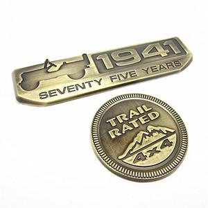 1 Set 1941 75 Yıl ve Trail 4x4 Amblem Rozeti Arka Çıkartması Sticker Jeep Willys JK Cherokee TJ Wrangler için