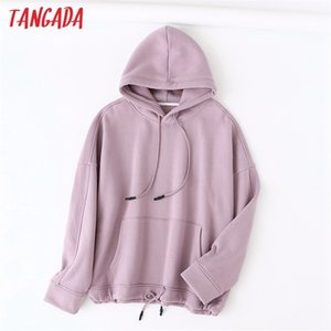 Tangada 2020 autumn winter women lavender cotton fleece hoodie sweatshirts ladies oversized pullovers pocket hooded tops LJ201120