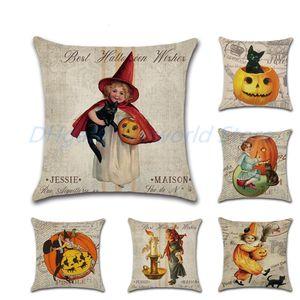 Vintage Halloween Girl Pumpkin Classic Nostalgia Linen Throw Pillow Case Car Home Decoration Decorative Pillowcase Cushion Cover