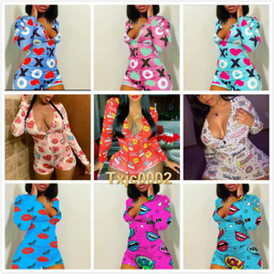 Women Onesies Jumpsuits Designers Fashion Christmas Print Pajama Workout Skinny V-neck Short Nightwear Ladies casual Rompers 2020