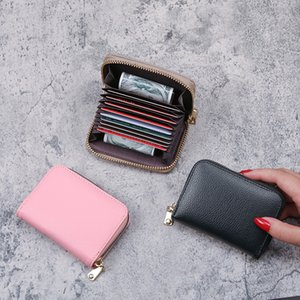 Bank ID Credit Card Holder Wallet Women men Red black Purple grey pink rose red  Female Business Card Holder PU Leather Card Case