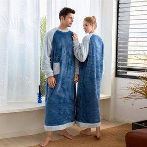 Mens and Womens Warm Fleece Nightgown Long Robes Pajamas Kaftan Winter Long One piece Pajamas Nightdress