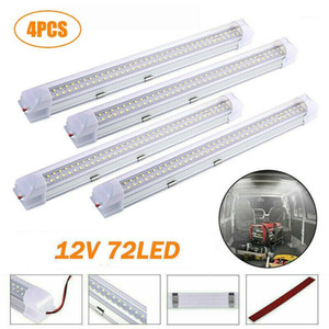 Working Light 4PCS Car Interior Strip Bar 72 LED 6500K White Lamp With ON OFF Switch For Truck Caravan Boat Home1