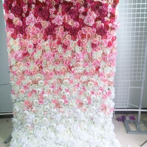 SPR roll up cloth flower wall PINK ombre Artificial wedding occasion backdrop arrangement flowers decorations free shipping