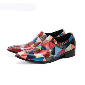 Top Fashion Genuine Pelle Pelle Mens Dress Shoes Misto Colors Business maschile Scarpe da uomo Oxfords Flats for Mens Festa di nozze