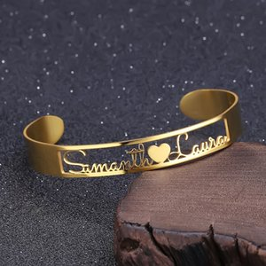 Cutomized Gold Name Bangle High Quality Stainless Steel Personalized ID Nameplate Bangles & Bracelet Adjusted 201209