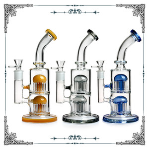 Glass Water Bongs 11 inches Glass Oil Dab Rig Colorful Lips Glass Bongs Double 8 arms percs Percolator Water Pipes Bong Bubbler