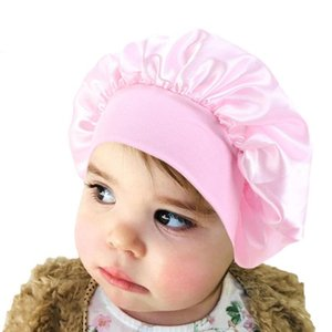 Elastic Satin Night Sleep Hat Kids Children Hair Care Bonnet Head Cover Wide Band Shower Caps For Hair Loss
