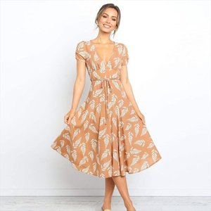 New tropical Leaves Print Summer Women Mid Calf Dress Sexy V Neck Short Sleeve Beach Dresses Ladies Casual Dress