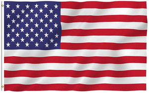 3x5 Foot American US Flag - Vivid Color and UV Fade Resistant - 100% Polyester (Double Sided) USA National Flags with Brass Grommets DHA2708
