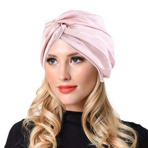 Women Stretchy Twist Turban Hat silky Head Wrap Hijab Cap Ladies Chemo Cap Muslim Hats Bonnet Beanie Breathable Hair Accessories