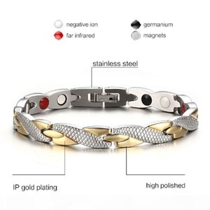 K Luxury 9mm 20cm Men Gold Silver Bracelet Magnets Stone Stainless Steel Solid Links Cuff Bangles Jewelry Gift