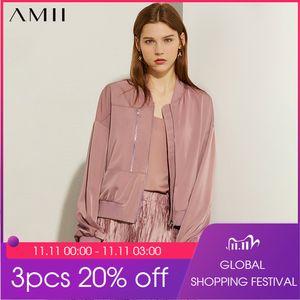 AMII Minimalism Autumn Fashion Satin Women Jacket Causal Solid Full Sleeve Zipper Female Jacket Tops 12070069 201123