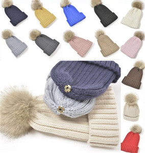 Removable Pom Beanie Ribbed Knitted Winter Hat Cuffed Beanies Slouchy Chunky Skull Caps 13 Colors Unisex Women men Ski Sport Hats LY12021