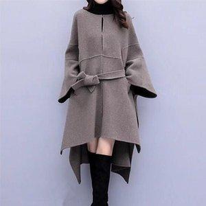 Plus size Frauen Mantel Wollmantel Herbst-Winter-New 2020 populärer Wollmantel Frauen-koreanische los lang Hochwertige Overcoat 3XL