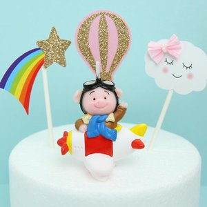 2019 Creative Cake Candle Decoration Airplane Flying Pig Candle Cute Children Cartoon Smokeless Birthday Candle Cloud Decoration bbybXj