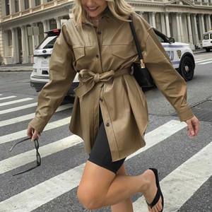 PUWD VINATGE Mujer camello grandes dimensiones cuero chaqueta cinturones 2021 primavera moda liberación de mujer camisa de mujer casual ladies'jackets Outwear