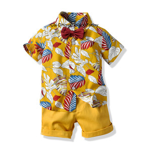 Toddler Boys Short Sleeve Bow Tie Leaf Printed Shirt Tops Shorts 2pcs Outfits 2020 Summer Fashion Gentleman Kids Clothing Set