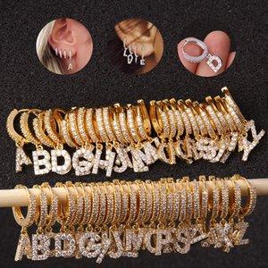 Initial Earrings Hoop Letter Charm Dangle Earring A-Z Alphabet Cubic Zirconia Earring Bling Rhinestone Ear Loop for Women Girl Kimter-X966FZ