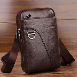 Fashion Mens Crossbody Waist Bag Genuine Leather Cell Mobile Phone Case Messenger Shoulder Bag Men Belt Fanny Hook Pack