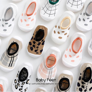 Fashion INS Leopard Baby Knit Socks Rubber Non-slip Kids Indoor Floor Shoes Infant Toddler Socks Newborn Soft Crawling Shoes
