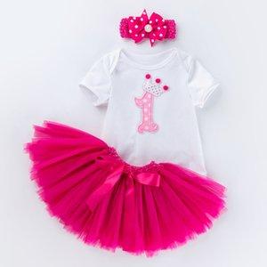 Детские первые наряды на день рождения TUTU Tulle 1 год Причастия Party Причастие в городе Крещественное платье пушистые розовые детские платья торт младенческие костюмы