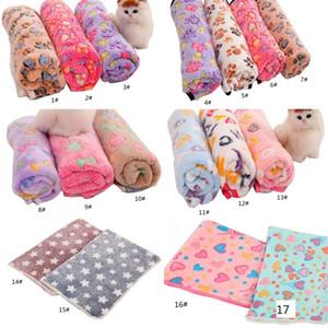 Pets Winter Blanket Floral Pet Sleep Warm Paw Print Towel Dog Puppy Fleece Soft Dog Blanket Multi-size EEF3950