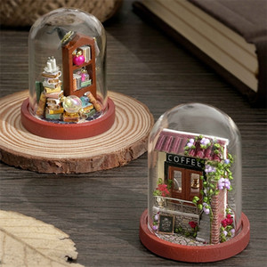 Cutebee DIY House Wooden Doll Houses Miniature Dollhouse Furniture Kit with LED Toys for Children Christmas Gift Mini House 201217