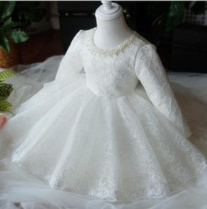 vestido infantil Baby Girl 1 st Birthday Dress White Lace Ball Gown Christening Princess Dress For Infant Party Newborn Clothes