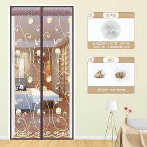 Summer Embroidery Ventilate Curtains Anti Mosquito Magnetic Tulle Curtain Door Screen Magnetic Screen Mesh Net Curtains