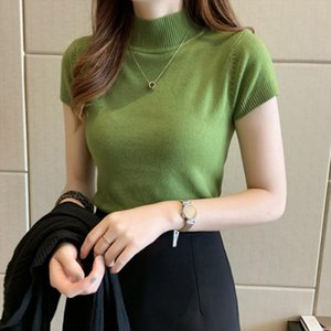 2020 Turtleneck Summer Short Sleeve Korean Sweater Knitted Pullover Women Sweaters Tops `Basic Thin Pull Femme Jumper
