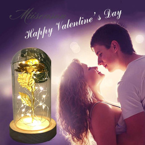 HOT Rose In Flask Gold-plated Red Rose With LED Light In Glass Dome For Wedding Party Mother's Day Gift
