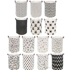 INS lattice letter printing Storage Bags cartoon Handbags Kids Toys,Dirty clothes basket 40*50cm Wholesale DHB1295