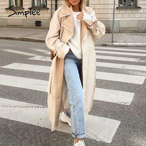 wholesale Elegant apricot autumn winter women wind coat Office lady lace up female trench coat Causal straight fashion long coat