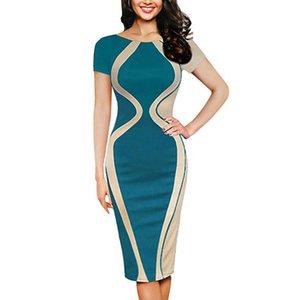 Free Ostrich Fashion Womens Dresses Designer Vestidos 2019 Sexy Bodycon Short Sleeve Party Business Pencil Dress D0335 Y200623