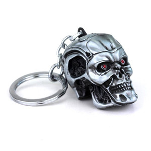 Hot Movie Terminator 3d Skull Keychain High Quality Skeleton Head Metal Keyring Men Car Women Bag Jewelry Accessories sqcLic whole2019