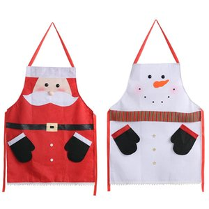 Christmas Cartoon Santa Claus Snowman Apron Creative Non-woven Fabric Apron NewYear Christmas Home Dinning Kitchen Restaurant YL0033