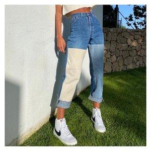 Donne Jeans Jeans Geans Patchwork Jeans Lavato Cucitura Pantaloni a contrasto a contrasto Colore Femminile Fashion New Dress Pantaloni Denim Pants