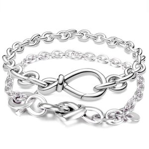 Chunky Infinity Knotted Heart Heart-embellished T-clasp 925 Sterling Silver Bracelet Fit Bangle Fashion Bead Charm Diy Jewelry C0225
