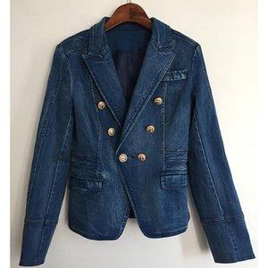 높은 거리 새로운 패션 2021 디자이너 블레이저 자켓 여성의 금속 사자 버튼 더블 브레스트 데님 블레이저 외부 코트